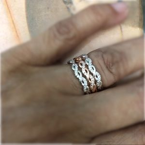 Stack Twisted Rose Gold 925 Sterling Silver Set